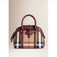 BURBERRY 博柏利 Small Milverton House Check Satchel Tan 女士手提包