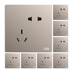 ABB 开关插座面板 10A错位斜五孔插座八只装 轩致系列 金色 AF205-PG*8