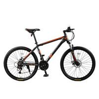 永久自行车 26英寸24级变速/避震前叉/双碟刹山地车 男女士学生单车 越野车 T16 黑橙色