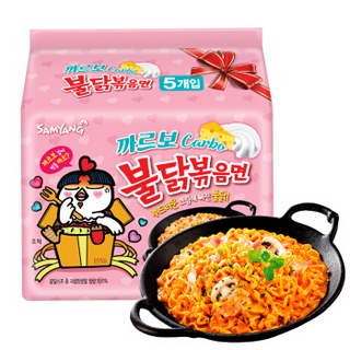 SAMYANG 三养 韩国进口(SAMYANG)三养奶油辣鸡肉味拌面650g(130g*5包)粉色火鸡面方便面袋面速食零食品