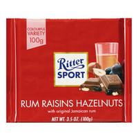RitterSport 瑞特斯波德 朗姆酒榛子葡萄干味夹心牛奶巧克力 100g *7件