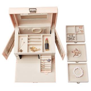 vlando 唯兰朵 VJ14004 首饰盒 礼品盒装木质欧式带化妆镜子 樱花粉