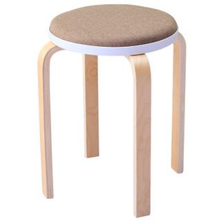 华恺之星 凳子实木椅子 家用餐椅板凳 非塑料曲木小圆凳高凳子HK8022浅棕