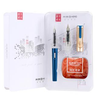 HERO 英雄 英雄368绅士 蓝色 EF+F双尖薄厚片 都市时尚办公学生练字钢笔签字笔铱金礼盒套装