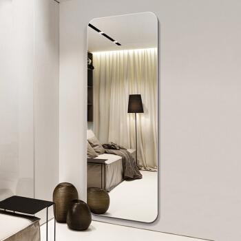 华恺之星 穿衣镜 现代简约 无框圆角墙贴 银色 玻璃 150*50cm