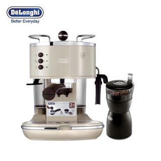 德龙 Delonghi ECO310 咖啡机KG40磨豆机促销礼盒装(奶油白)