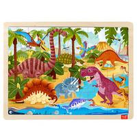 TOI 儿童故事拼图玩具幼儿木质拼图拼板宝宝木制玩具1-2-3 岁 24片恐龙世界