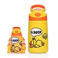 B.DUCK小黄鸭儿童手提保温杯不锈钢真空吸管杯学生保冷保温水壶 400ML  气球 6791TM