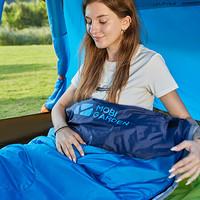 牧高笛户外装备 成人户外旅行可拼接保暖室内露营单人隔脏棉睡袋1.0KG EX19562001 海蓝(左)