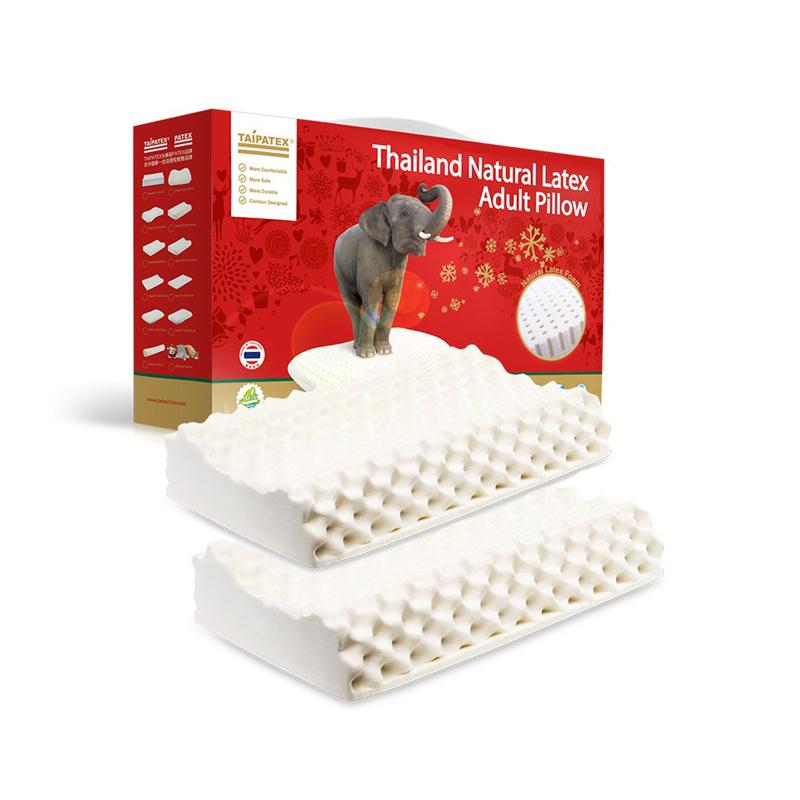 TAIPATEX 按摩护颈乳胶枕 58*34*11/13cm 2件装 白色