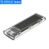 奥睿科(ORICO)M.2 NGFF移动硬盘盒转Type-C USB3.1固态SSD硬盘透明外置盒子 黑色TCM2F-C3