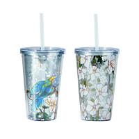 大都会艺术博物馆 鹦鹉木槿花系列 便携吸管杯 300ml