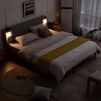 源氏木语实木床北欧1.8米头层牛皮软靠床现代简约卧室橡木双人床