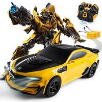 乐亲(LECHIN)新奇达擎天柱大黄蜂遥控汽车人一键变形声控感应机器人模型男孩玩具变形金刚系列大黄蜂三电版