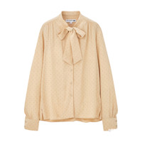 UNIQLO 优衣库 女士花式蝴蝶结领长袖衬衫430430 米色S