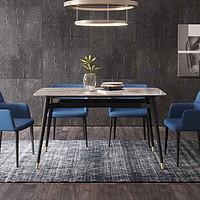 优梵艺术阿尔诺意式岩板餐桌椅组合