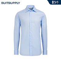 Suitsupply-Traveller浅蓝色双股棉标准领免烫商务男士衬衫