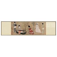 博物馆级画面精细复刻,半庭新中式装饰画《调琴啜茗图》