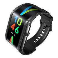 nubia 努比亚 Nubia Watch eSIM智能手表 41.5mm 骑士黑不锈钢表壳 黑色硅胶表带(柔性屏、GPS、指南针)