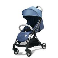 babycare超轻婴儿手推车一键自动收合可坐可躺便携式减震儿童伞车NTA007-A格里蓝