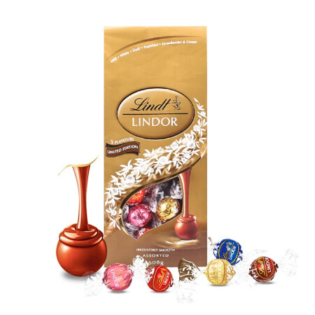 LINDT瑞士莲 软心精选巧克力球分享装608g五种口味喜糖