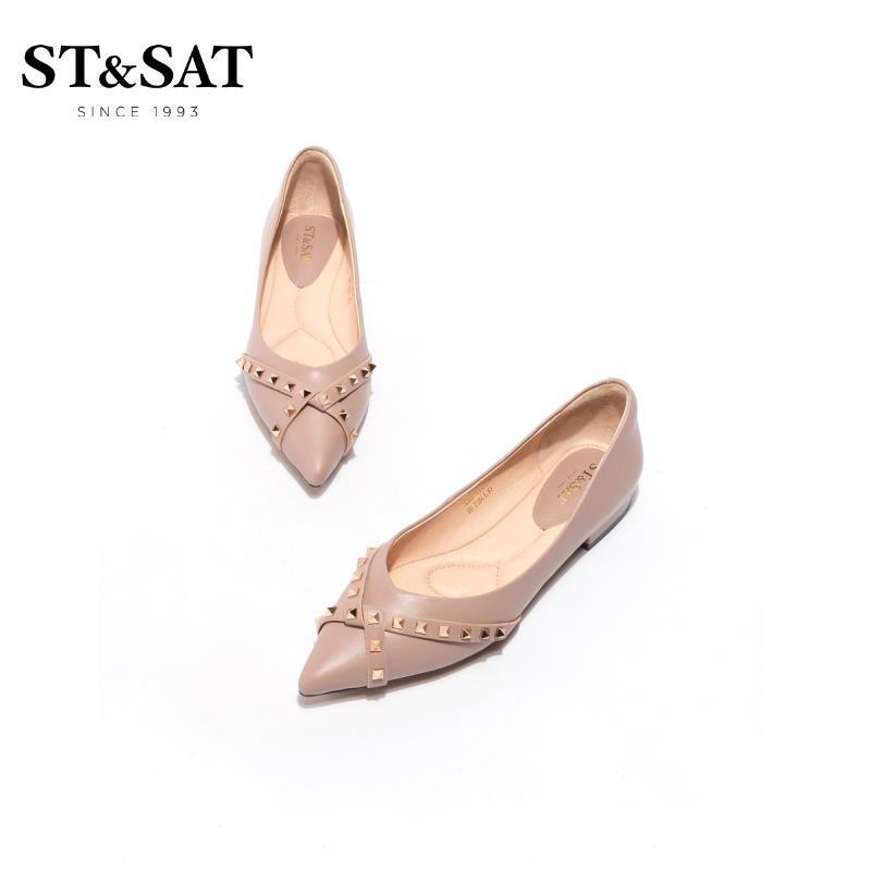 ST&SAT 星期六 SS01111052 女士铆钉扣饰尖头单鞋