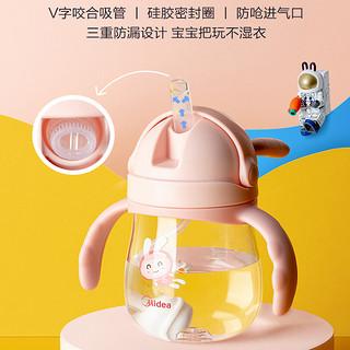 美的tritan婴幼儿学饮杯宝宝喝水杯两用防呛带手柄儿童背带吸管杯(绿色-360ml)