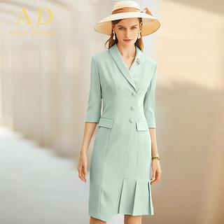 AD春夏职业装气质女神范七分袖薄荷绿色西装连衣裙时尚通勤OL女装