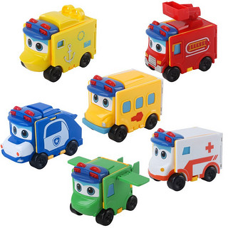 HENES 百变校巴歌德反转变形玩具警察哥德儿童消防汽车益智男孩校车巴士