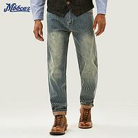 MBBCAR 13oz复古条纹赤耳丹宁小脚裤 窄幅阿美咔叽复古宽松牛仔裤 深蓝色 30