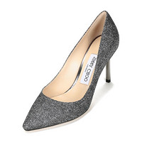 周仰杰 JIMMY CHOO 女士闪光面料尖头高跟鞋碳灰色 ROMY 85 LAG 247 ANTHRACITE 35.5码