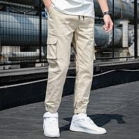 BABEI/巴贝 夏季新款束脚口袋装饰运动潮流工装裤子长裤男士休闲裤 卡其 L