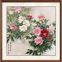 尚得堂 韩梅《花开富贵》65×65cm 牡丹花客厅 花鸟画办公室 玄关装饰画工笔画
