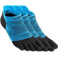 INJINJI五指袜  三对装短筒常规厚度跑步袜  马拉松跑步运动 coolmax 蓝色 S