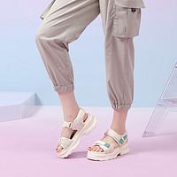 CAMEL 骆驼 A12561673  女士撞色织带魔术贴厚底运动凉鞋