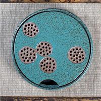 日式窑变绿松石莲蓬  31cmx4.5cm 当代瓷