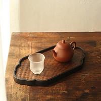 祥云干泡台 重竹席面杯托竹编储水茶盘 25×1.5×15cm 壶承壶垫杯垫茶具