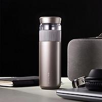 pinztea 茶水分离钛保温杯 350ml 灰色 1件装