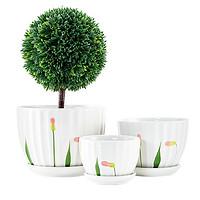FOOJO 陶瓷花盆 园艺家用绿植花盆大中小3件套带托盘桌面阳台多肉绿萝种植盆
