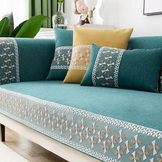 木儿家居 沙发垫套装四季沙发罩防滑沙发巾沙发坐垫定制 y海风-湖蓝色  90cm*90cm 一片