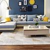 QuanU 全友 102085C 简约皮布沙发 1+3+正向转 水蓝色