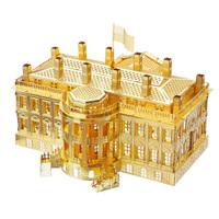 拼酷3D金属立体拼装拼插模型玩具拼图DIY创意礼物世界建筑模型家居摆件饰品 白宫-金色(送工具)