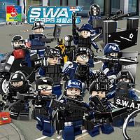 儿童玩具兼容乐高小人仔警察公仔积木玩具警察小人套装兼容乐高特警小人偶士兵玩具儿童礼物 特警战队(354块12只人仔)